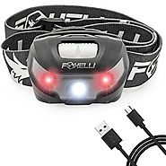 Foxelli USB Rechargeable Headlamp Flashlight - Up to 30 Hours of Constant Light on a Single Charge, Super Bright Whit...