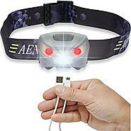 USB Rechargeable LED Headlamp Flashlight - Super Bright, Waterproof & Comfortable - Perfect Headlamps for Running, Wa...