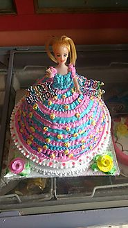 A barbie doll cake