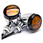 DLLL 2pcs Amber Universal Motorcycle Skull Lens Chrome LED Turn Signal Bulb Blinkers Light Indicator Side Marker For ...