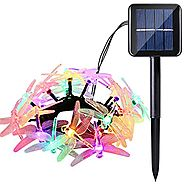Icicle Christmas Solar String Light, 16ft 20 LED 8 Modes Dragonfly Waterproof Fairy Lighting Indoor/Outdoor Landscape...
