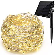Solar String Lights, Ankway 200 LED Solar Christmas Lights 3-Strand Copper Wire Lights 8 Modes 72 ft Waterproof IP65 ...