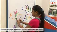 Children enjoying in the Creative lounge at the Dolphin POD centre
