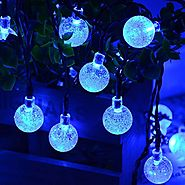 Qedertek Solar Christmas String Lights, Outdoor Globe Lights 20ft 30 LED String Light Crystal Ball Lighting for Chris...