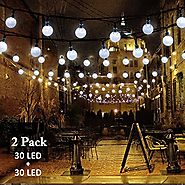 Vmanoo Christmas Solar Powered Globe Lights,30 LED (19.7ft) Globe Ball Fairy String Light for Outdoor, Xmas Tree, Gar...