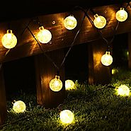 Globe String Lights, CMYK 20 Ft 30 Crystal Balls Waterproof LED Fairy Lights, Outdoor Starry Lights Solar Powered Str...