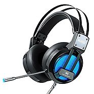NUOXI N5 Stereo Gaming Headset,3.5mm Wired Over Ear headphone with Microphone LED Light for PC