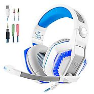 Gaming Headset Surround 3.5mm Stereo Headband Headphone with LED light Volume Control Microphone for Xbox One PS4 Lat...
