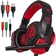 Gaming Headset with Mic and LED Light for Laptop Computer, Cellphone, PS4 and son on, DLAND 3.5mm Wired Noise Isolati...