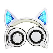 Cat Ear Headphones, DICEKOO Wireless Bluetooth Headset Flashing Glowing Cosplay Fancy LED Light USB Charger Earphone ...