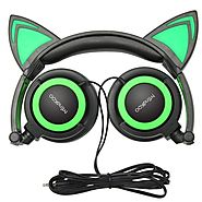Cat Ear Headphones,MindKoo Kids Headphones Flashing Glowing Cosplay Fancy Foldable Over-Ear Gaming Headsets with LED ...