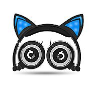 Dragon Touch Cat Ear Headphones Foldable Over-Ear Gaming Headsets Wired Earphone with LED Glowing Lights for PC Lapto...