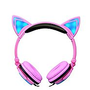 Kids Headphones Cat Ear Headphones LED Flashing Lights (Pink)