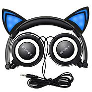 Cat Ear Headphones,MindKoo Flashing Glowing Cosplay Fancy Kids Headphones Foldable Gaming Headsets Earphone with LED ...