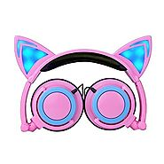 Cat Ear Headphones,TOPQSC Cat Ear Headphones with LED Glowing Lights for PC and Mobile Phone Pink