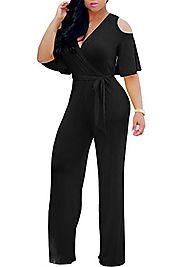 Gludear Women Sexy Wrap Cold Shoulder Ruffles Wide Leg Jumpsuit Rompers,Black,XXL