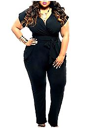 Coolred Women's Short Sleeve Deep-V Neck Plus-size Belted Jumpsuits Black 2XL