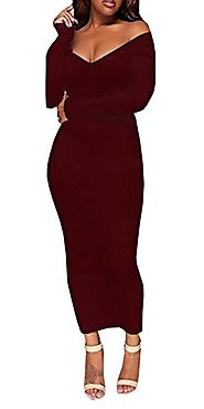 Imily Bela Women's Solid Off Shoulder Long Sleeve Bodycon Sweater Dress Ribbed Romper