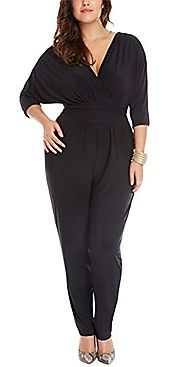 Vamvie Women's Sexy V-Neck long Pants Loose Bat Sleeve Jumpsuits Rompers Black 3XL