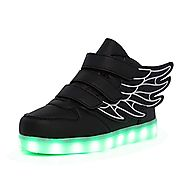 CIOR Kids Boy and Girl's 11 Color Wings Led Sneakers Light Up Flashing Shoes,102,01,30, 12.5 M US Little Kid, 02Black