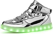 Poppin Kicks Unisex Adults LED Light Up Shoes Metallic Leather High Top Sneakers Silver Women 13 Men 10.5