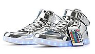 MaiDun Remote Controlled High Top LED Light Up Sneakers For Womens Mens Codenames,Silver W US12