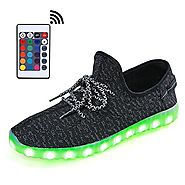 SANYES USB Charging LED Light Up Shoes Sports Dancing Sneakers SYXDB16-Black01-46