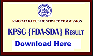 KPSC SDA FDA Result 2017 kpsc.kar.nic.in Cut Off Marks Merit List