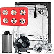 "TopoLite Grow Tent Room Complete Kit Hydroponic Growing System LED 1200W Grow Light + 6"" Carbon Filter Combo + 60""X60..."