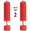 Automatic Salt and Pepper Mill, (Set Of 2), Grinder, and Shaker Set. Rubber Coated - Electric - Battery-operated with...