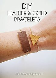 DIY Leather and Gold Bracelets - Homemade Ginger