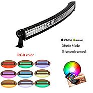 "Nicoko Curved 52"" 300W RGB Halo LED Light Bar Spot Flood Combo Lamp with Bluetooth App & Wiring Harness Control for O..."