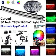 "Night Break Light 50"" 288W 5D RGB Curved Led Light Bar Combo Beam Bluetooth App control 16 million Colors Changing IP..."