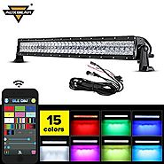 "Auxbeam 32"" Multi-color LED Light Bar V Series 180W 5D RGB Off road LED Bar 3W CREE LEDs Spot Flood Combo Beam with B..."