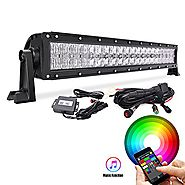 MicTuning Multi-color LED Light Bar 22Inch 120W Flood Spot Combo Light Bluetooth App or Wiring Harness Control for Of...