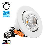 TORCHSTAR High CRI90+ 4 inch Dimmable Gimbal Recessed LED Downlight, 10W (75W Equiv.), ENERGY STAR, 2700K Soft White,...