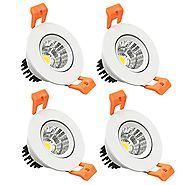 LightingWill 4-Pack 3W CRI80 LED Downlight Dimmable COB Directional Retrofit Kit 220LM Cut-out 2in(51mm) Dimmable 60 ...