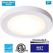 "Cloudy Bay LED Flush Mount Ceiling Light,7.5"",12W 840lm(100W Incandescent Equivalent),Dimmable,3000K Warm White,ETL E..."
