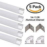 JIRVY Led Channel 5 Pack 1m / 3.3ft Led Aluminum Channel V-Shape Aluminum Channel for Flex / Hard LED Strip Lights In...