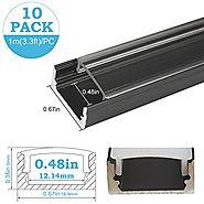 inShareplus 10Pack 3.3ft/1m LED Aluminum Channel Profile, Aluminum Extrusion with Clear Cover U-Shape Surface Mount f...