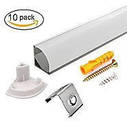 10 PACK 1M/3.3ft V-Shape LED Aluminum Channel with Milky White PC Cover for Strip Lights Installation,Easy to Cut,Pro...