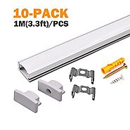 StarlandLed 10-Pack Aluminum LED Channel for LED Strip Lights Installation,Easy to Cut,Professional Look,U-Shape Led ...