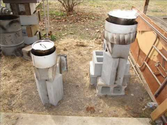 Two Rocket stoves made from cinder blocks