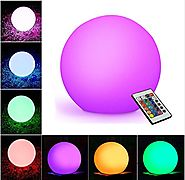 "WIOR LED Decorative Ball, 5.9"" Waterproof Rechargeable Mood Lamp, Color Changing Cordless Night Lights (Remote Contro..."