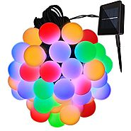 Solar Outdoor String Lights 31ft 50 LED Waterproof Ball Lights Christmas Lights Solar Powered Starry Fairy String lig...