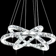 Siljoy 3 Rings (15.7 - 23.6 - 31.5 Inches) Modern K9 Crystal Ceiling Light Fixture Cool White LED Lighting