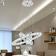 UNITARY BRAND Modern Crystal Nature White LED Pendant Light With 2 Unique Rings Max. 27W Chrome Finish