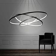 LightInTheBox 90W Pendant Light Modern Design LED Three Rings Chandeliers Black Color, Light Source=Warm White, Volta...