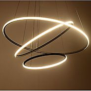 Royal Pearl Modern Circular Led Chandelier Adjustable Hanging Light Three Ring Collection Contemporary Ceiling Pendan...