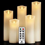 "Flameless Candles, Battery Candles Flickering Flameless Candles With Remote Timer - Set 5"" 6"" 7"" 8"" 9"" Real Wax Pilla..."